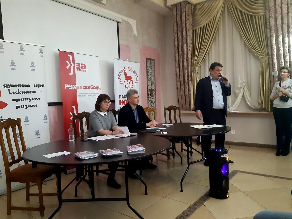 Николай Козлов на праймериз в Барановичах. Фото: Елена ЗЕЛЕНКО