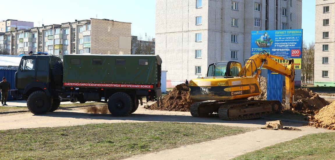 Два снаряда времен войны откопали в Барановичах. Фотофакт