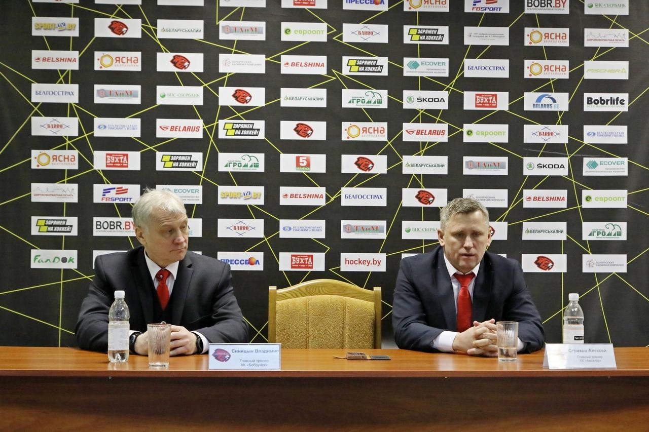 Главный тренер ХК «Авиатор» – Алексей Страхов (справа). Фото: сообщество ХК «Бобруйск» во «ВКонтакте»