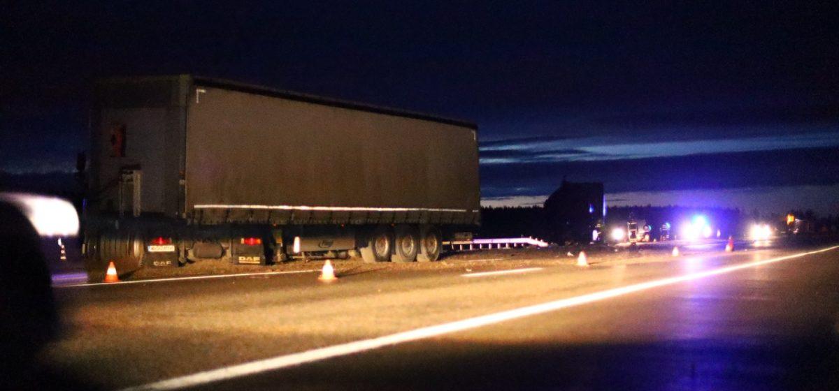 Дальнобойщик погиб при столкновении двух фур на трассе М1 около Барановичей. Фото, видео
