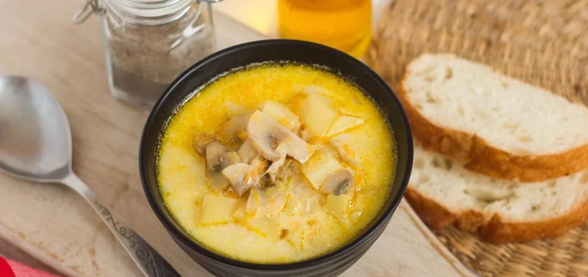 Вкусно и просто. Грибной суп с плавленым сыром
