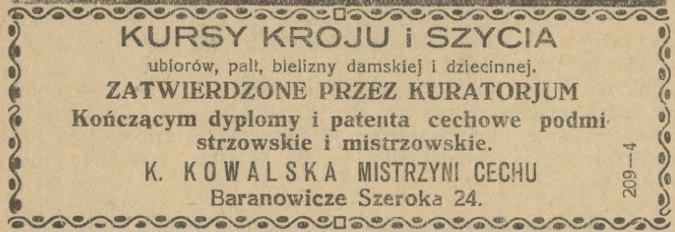 Абвестка ў Życie Nowogródzkie аб курсах для швачак у Баранавічах.