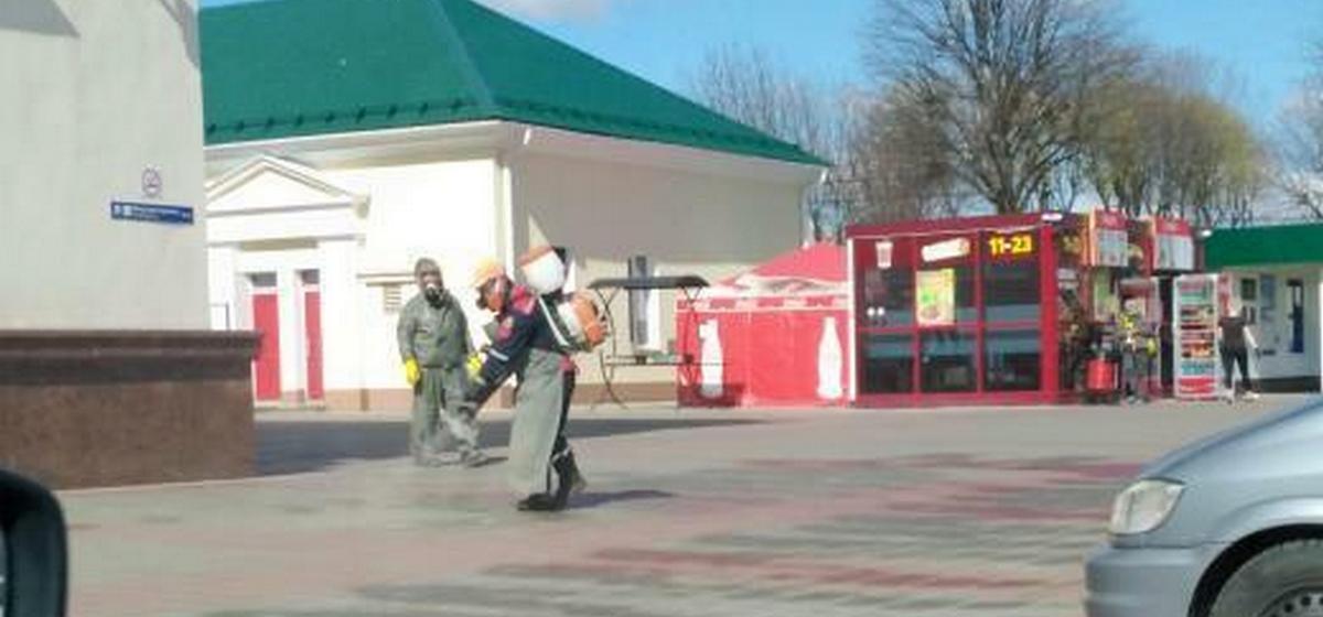 Как производят дезинфекцию вокзала «Барановичи-Полесские»