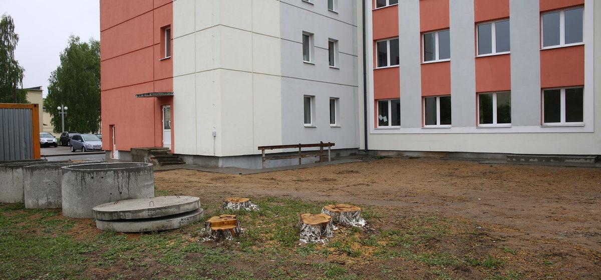 Почему спилили деревья возле Дома культуры в Барановичах. Законно ли это?