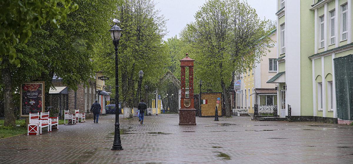 В Барановичах в мае пошел снег. Фотофакт