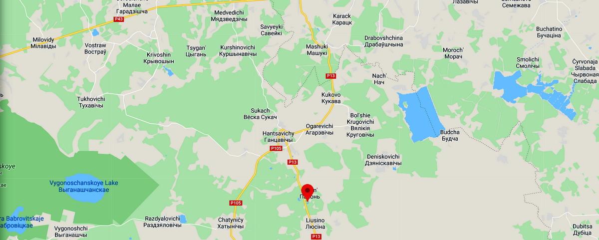 Красное озеро, д. Люсино Ганцевичского района. Скриншот
