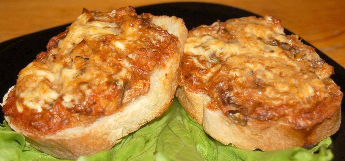 Вкусно и просто. Быстрые горячие бутерброды в духовке с грибами