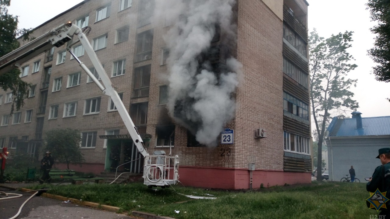 Пожар в Минске на ул. Кольцова, 23. Фото: МЧС
