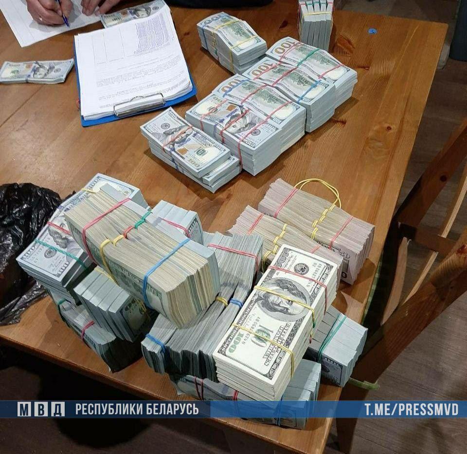 Найденные во время обыска у Тихановского деньги. Фото: МВД