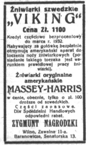Абвестка пра продаж амерыканскіх касілак для жніва. Газета Życie Nowogrodzkie ад 20.07.1930.