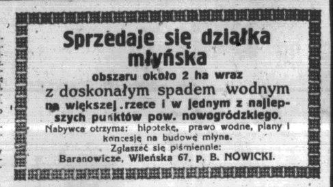 Абвестка пра продаж 2 га каля ракі пад будаўніцтва млына. Газета Życie Nowogrodzkie ад 30.07.1930.