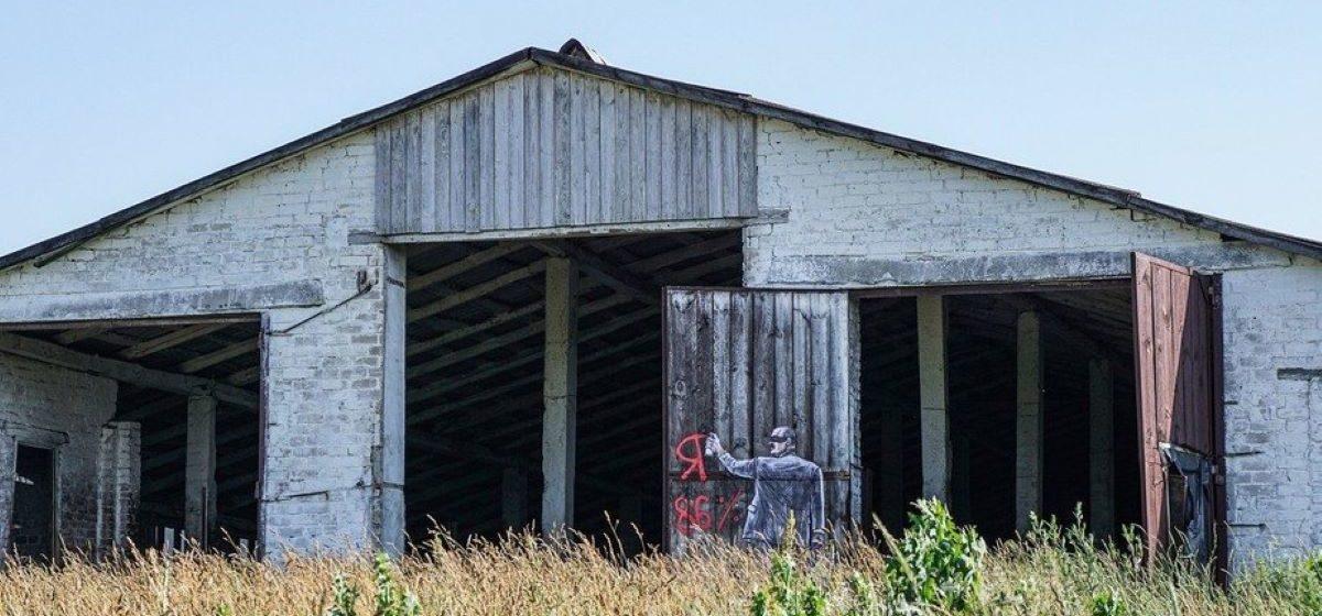 На разрушенном коровнике появилось необычное агитационное граффити