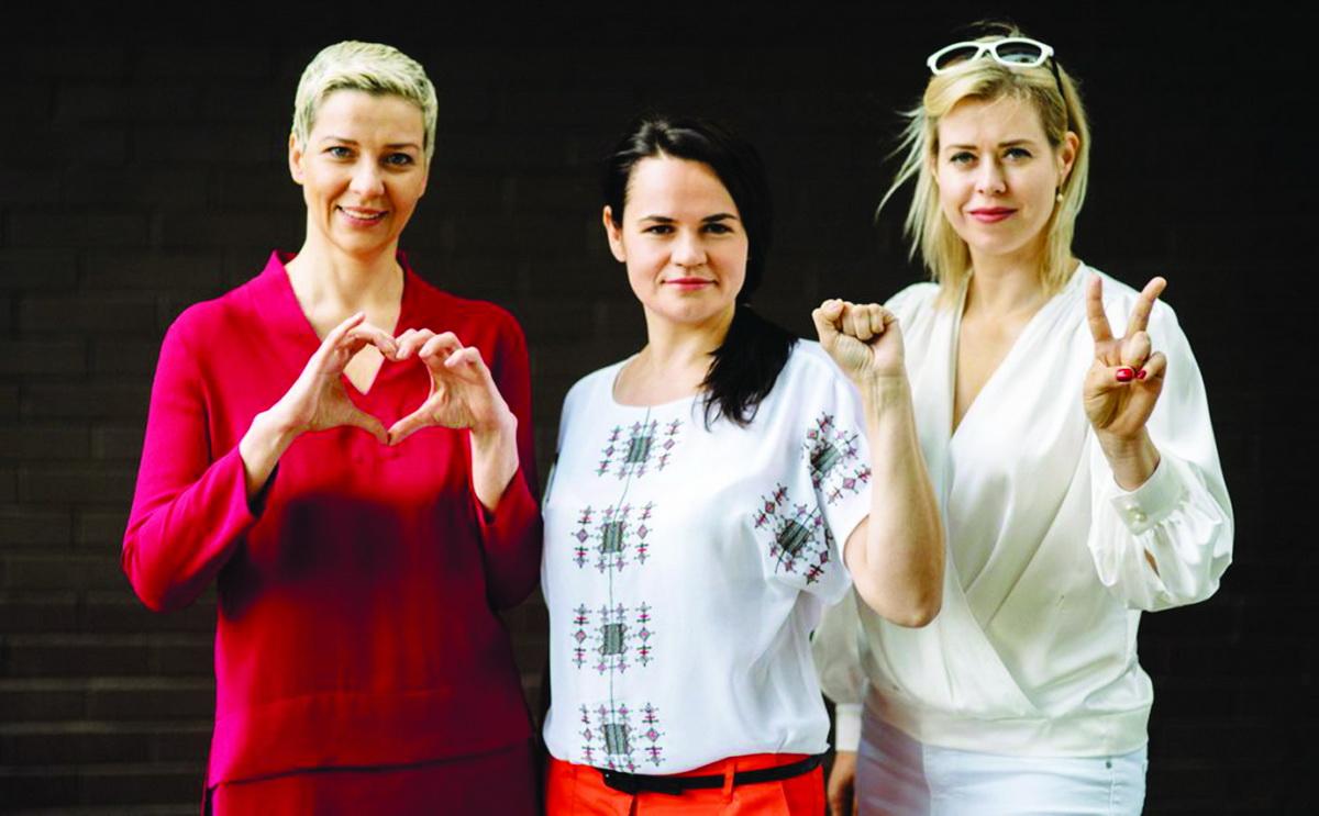 Кандидат в президенты Светлана Тихановская (в центре) с Вероникой Цепкало и Марией Колесниковой. Фото: фото:storage.myseldon.com