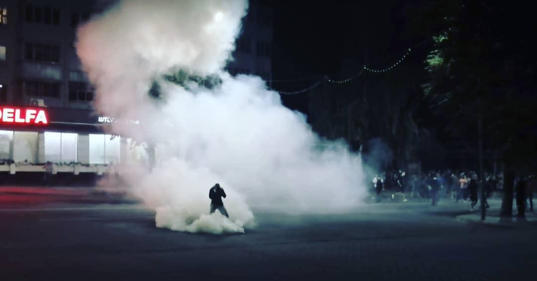 Жесткие столкновения 10 августа в Барановичах. Фото: Ян ЯКОВЧИК