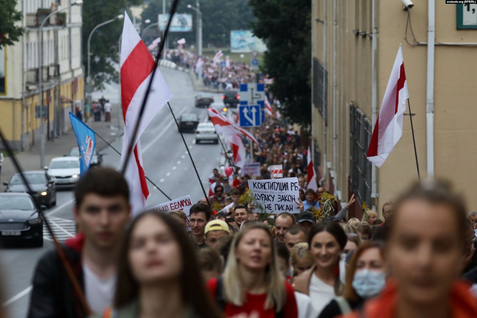 Колонна протестующих в Минске. Фото: Радыё Свабода