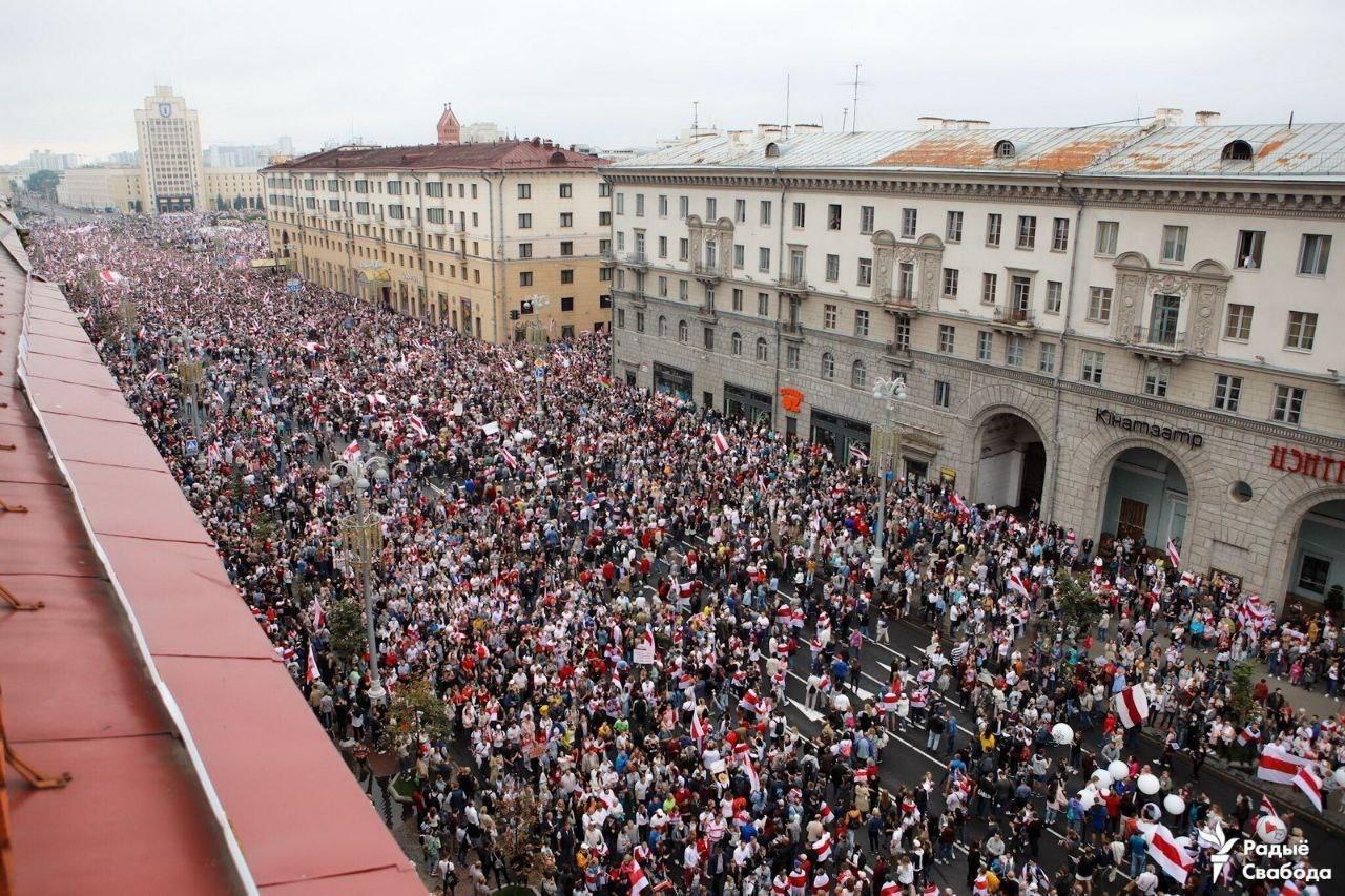 Площадь Независимости 23 августа. Фото: Радыё Свабода