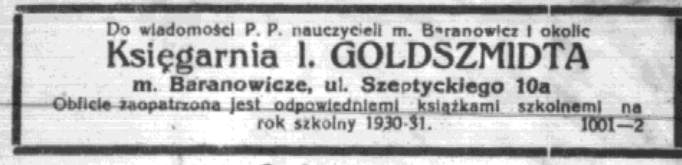 Абвестка пра продаж школьных падручнікаў у кнігарні Гольдшмідта. Życie Nowogródzkie, 2.09.1930
