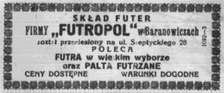 Абвестка пра пераезд крамы футраў FUTRAPOL на новы адрас. Życie Nowogródzkie, 7.09.1930