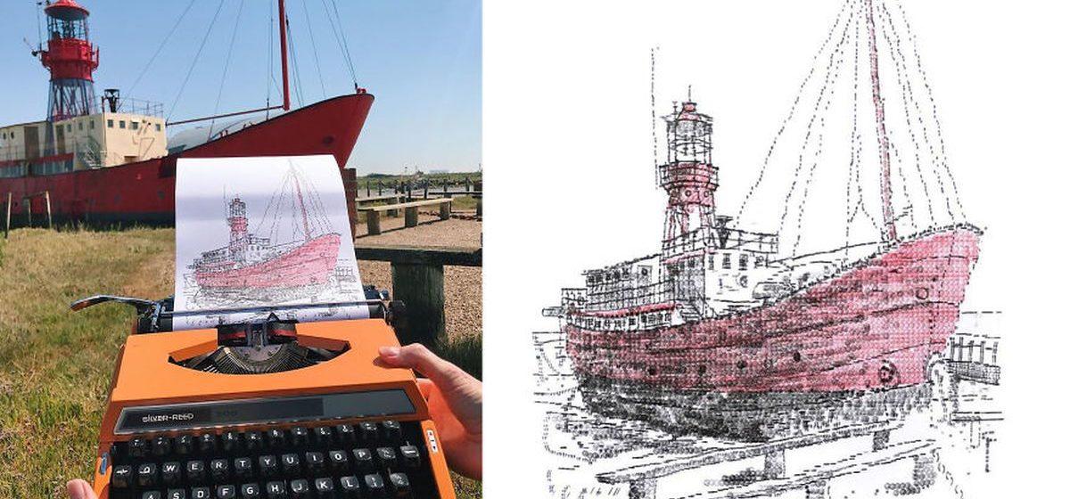 Художник создает впечатляющие картины с помощью старой печатной машинки. Как это вообще возможно?