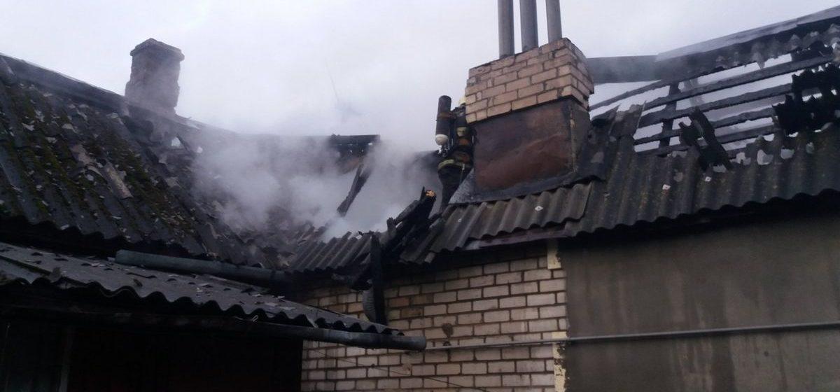 Жилой дом горел в Барановичах. Фото
