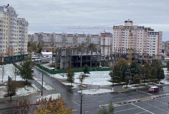 Первый снег выпал 18 октября в Витебске. Фотофакт