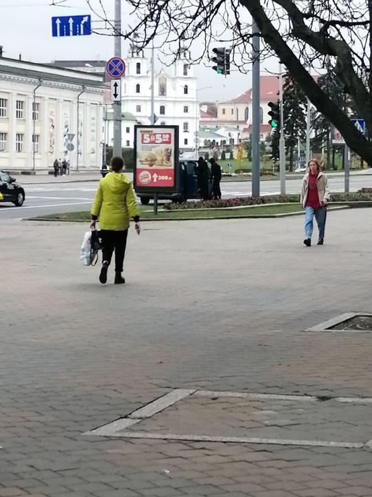 Силовики заводят в бусик мужчину в синем жилете. Фото читателя TUT.BY
