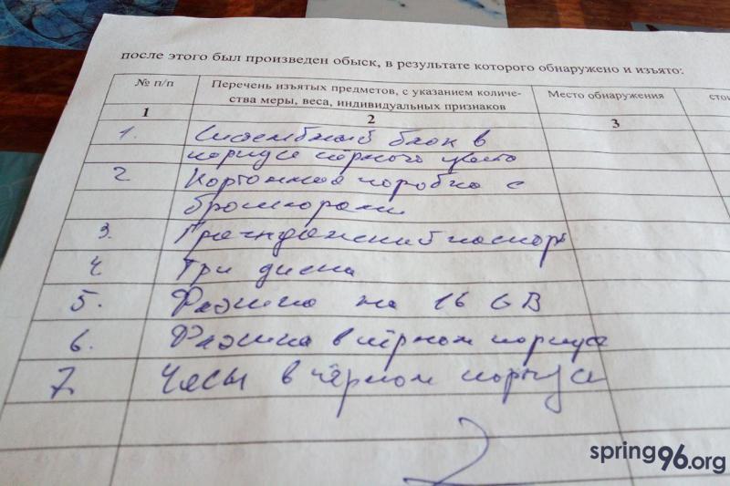 Список изъятого у Евгения Журавского. Фото: ПЦ «Весна»