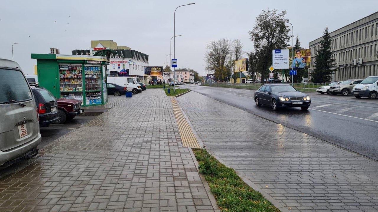 Остановка «Барановичи-Полесские» с предупреждающей плиткой. Фото: личный архив Светланы ПОТОЦКОЙ