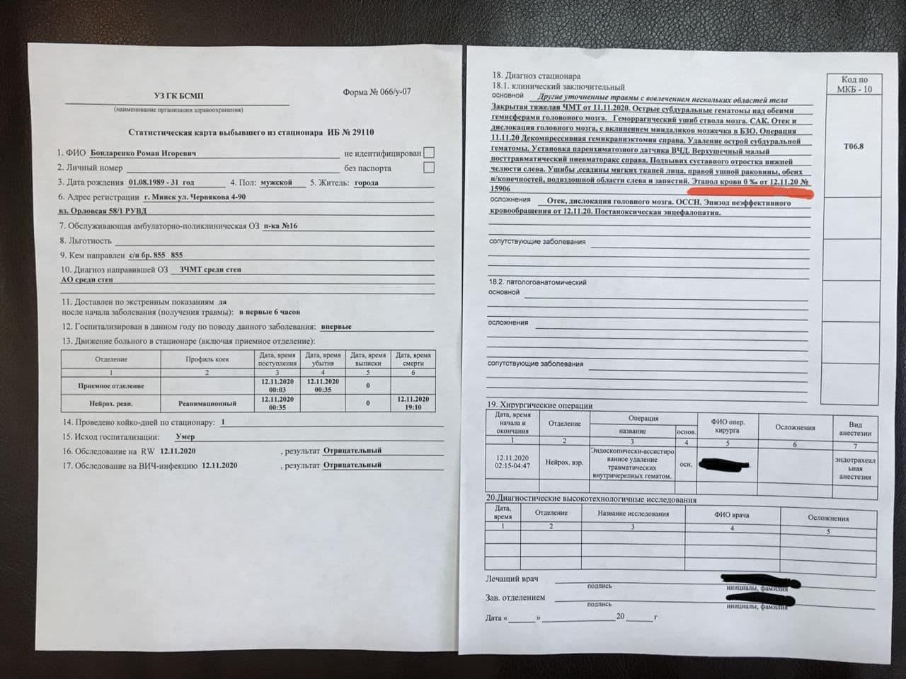 Вместе с тем телеграм-канал «белые халаты» пишет, что у Романа Бондаренко было 0% алкоголя в крови, фото из Сети