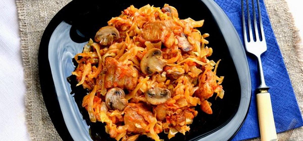 Вкусно и просто. Капуста, тушенная с мясом, рисом и грибами