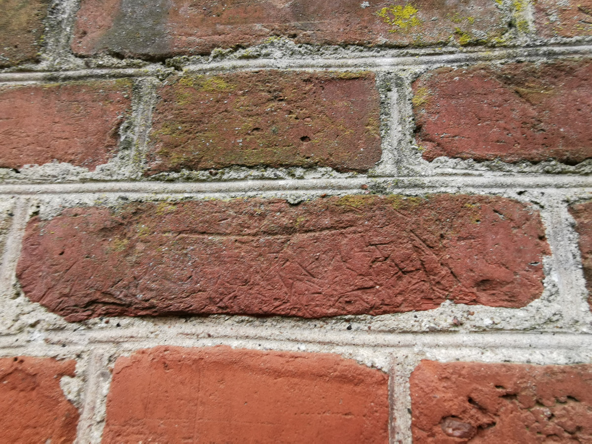 Кирпич с рисунком в виде травинок на поверхности, обнаружен в стене коптильни в д. Верхнее Чернихово. Фото: Виктор БОРИСЕВИЧ