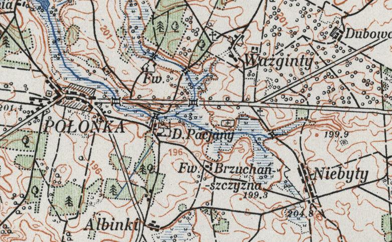 Бруханшчына на мапе 1924 года.