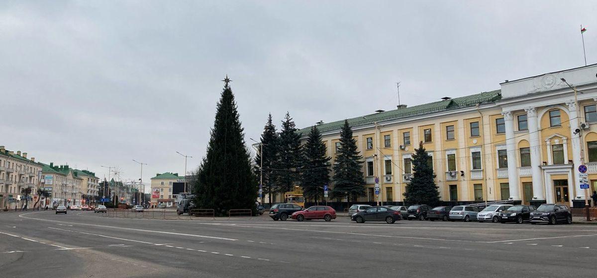 Главную елку города украшают в Барановичах. Фотофакт