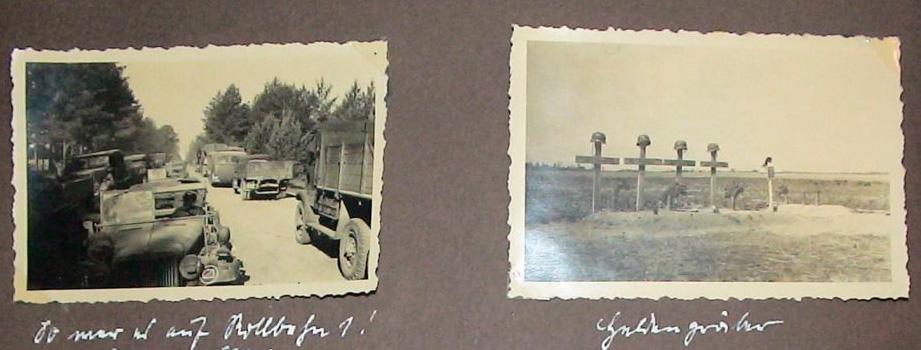 Могилы немецких солдат у дороги на Барановичи, 1941 год. Фото из альбома немецкого солдата