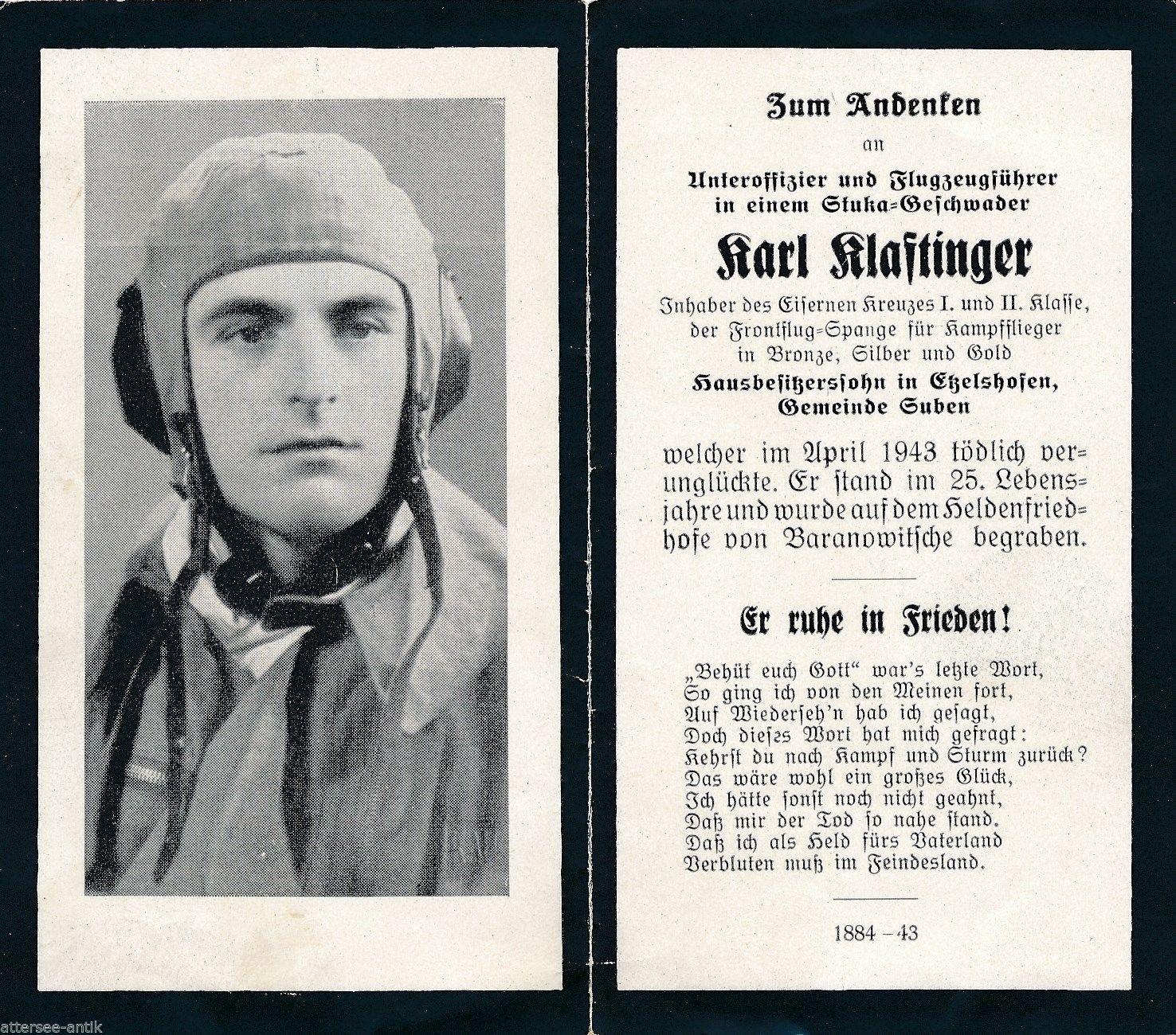 Немецкая «похоронка» летчика, погибшего в апреле 1943 года и захороненного на кладбище в Барановичах.