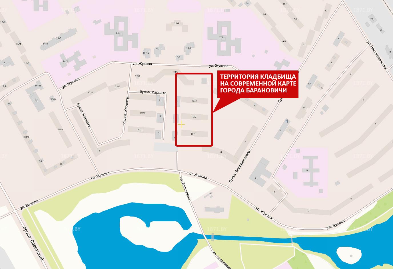 Кладбище, если смотреть на карту современного города, находилось на месте жилого массива на бульваре Карвата, 10/1, 10/2, 10/3.