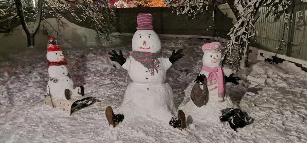 Олаф, Снегурочка и инспектор ДПС. Каких снеговиков лепили жители Барановичского региона в выходные