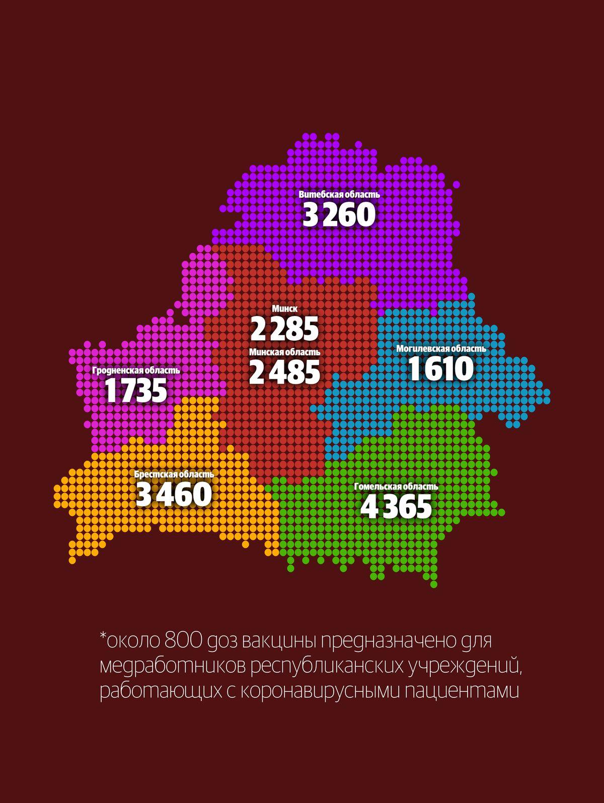 Как распределят вакцины для медработников по всей Беларуси. Инфографика: Петр КАРАСЮК