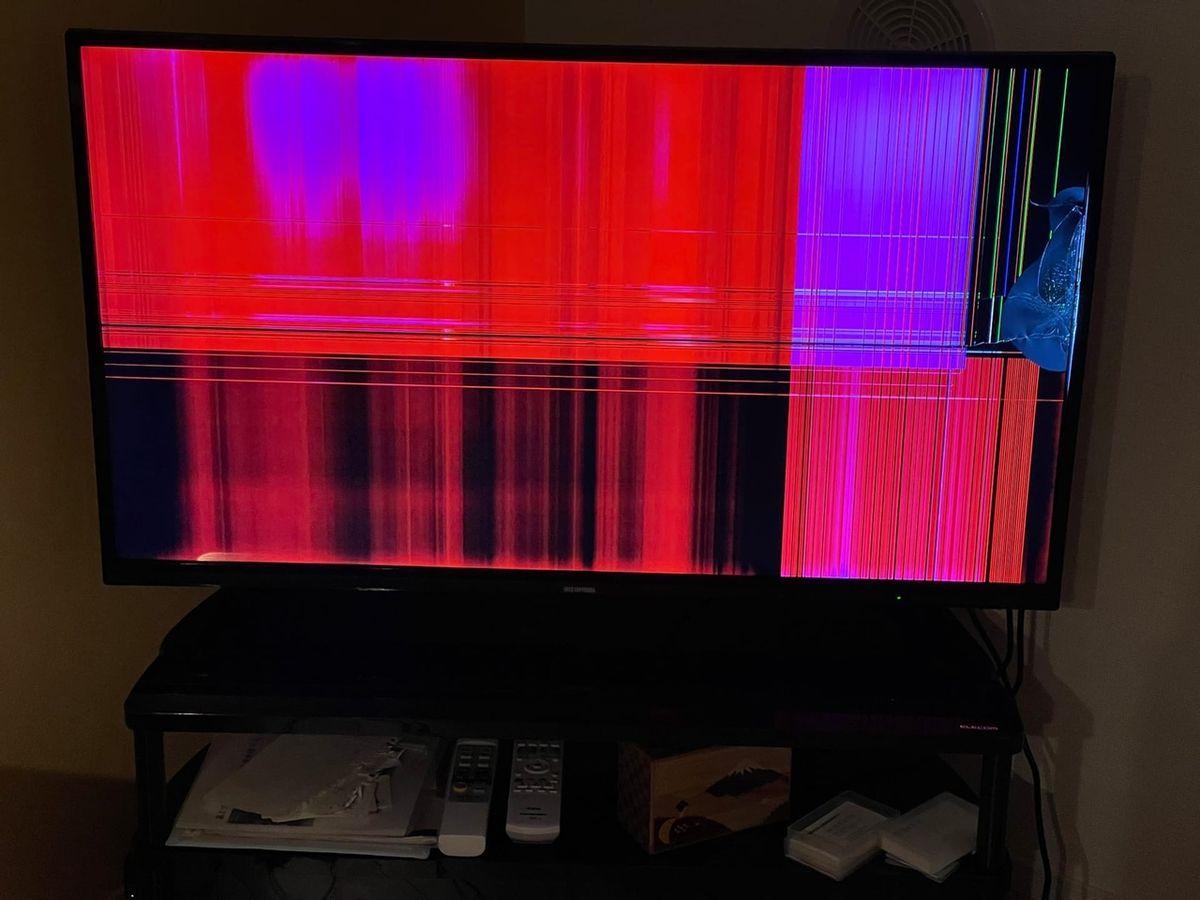Разбитый телевизор  в Мияги. Фото: Алина СЕВЕЦ