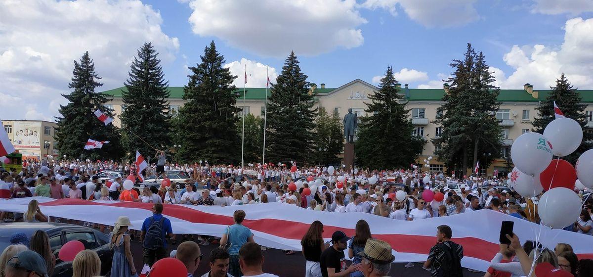 Мирный митинг в Барановичах 16 августа. Фото: intex-press