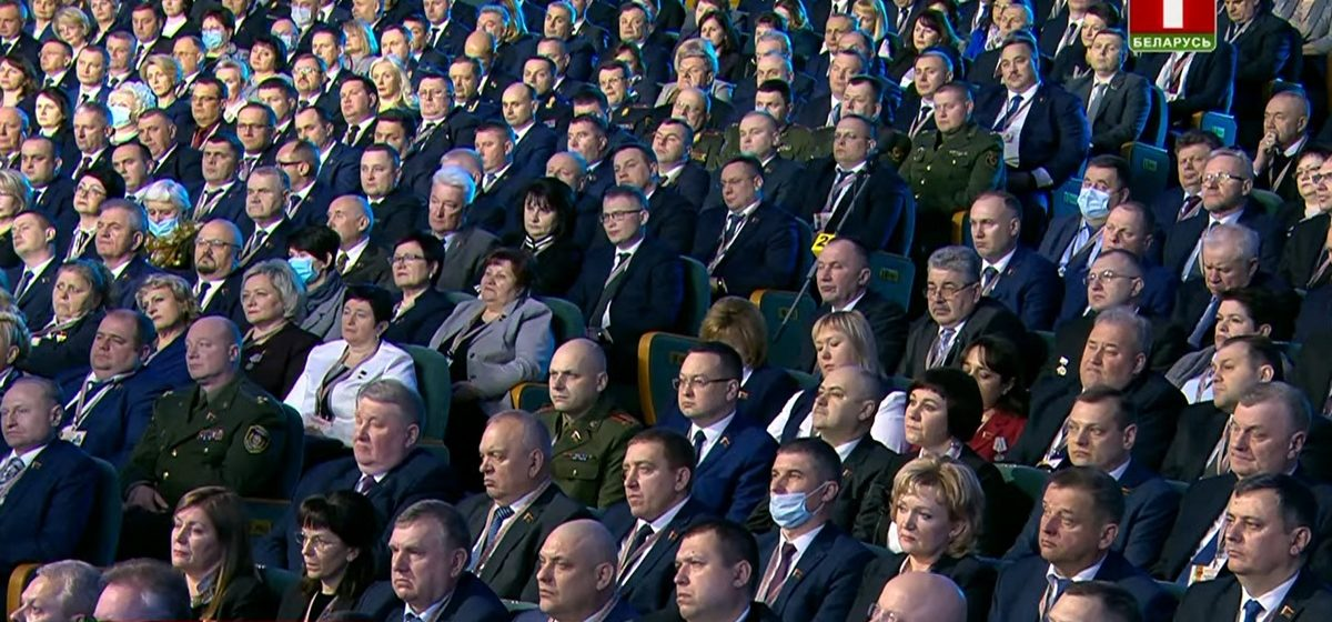 С какими лицами слушали Лукашенко делегаты Всебелорусского собрания. Фото