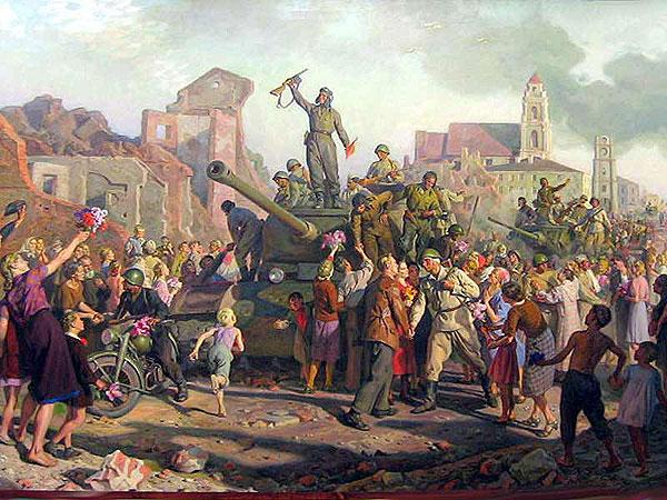 Картина Валентина Волкова «Освобождение Минска», которое произошло в 1944 году.