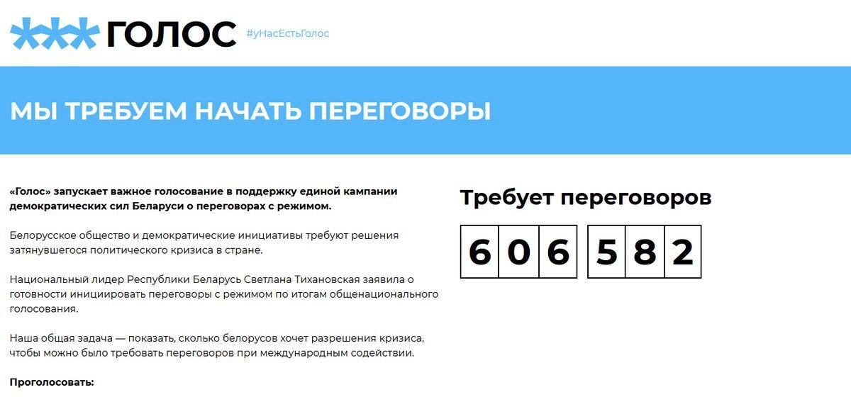 Более 600 тысяч человек поучаствовало в голосовании, объявленном Тихановской. Стартовал видеомарафон в его поддержку
