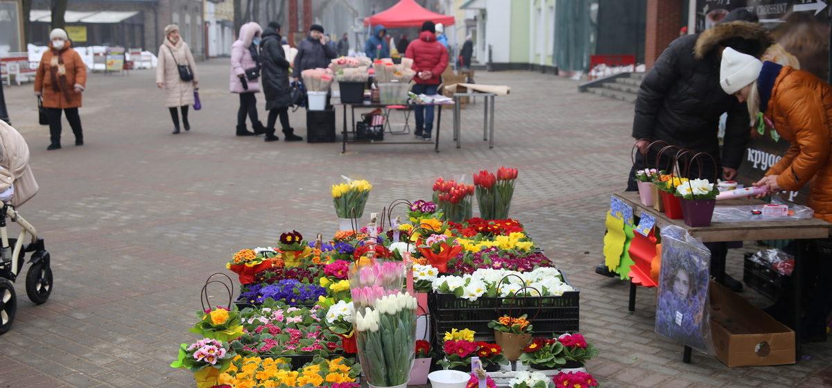 «Пока покупателей особо нет, вся надежда на 8 Марта». Какие цветы и почем продают в Барановичах