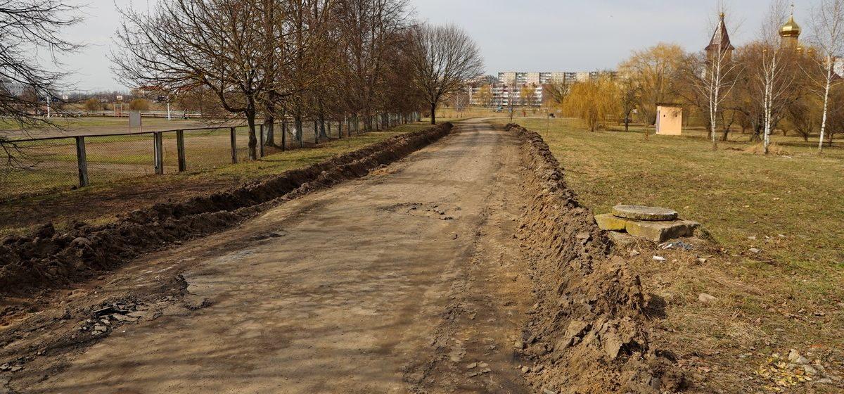 Улицу из брусчатки восстанавливают в Барановичах