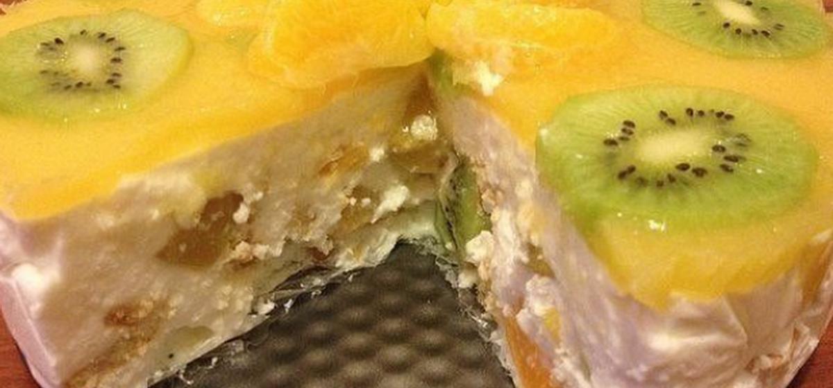 Вкусно и просто. Творожно-желейный торт с фруктами