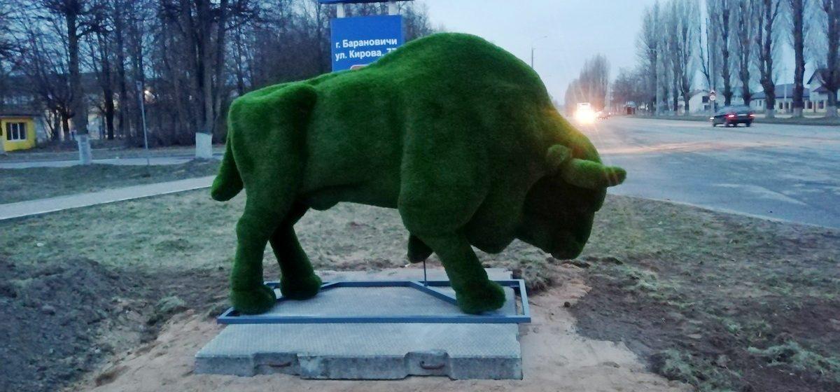 Большого зеленого зубра установили в Барановичах. Фотофакт