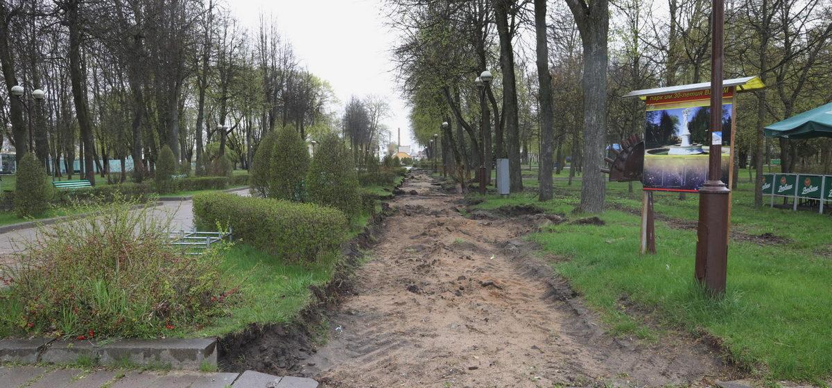 Как выглядит молодой парк через три недели после начала благоустройства. Фоторепортаж