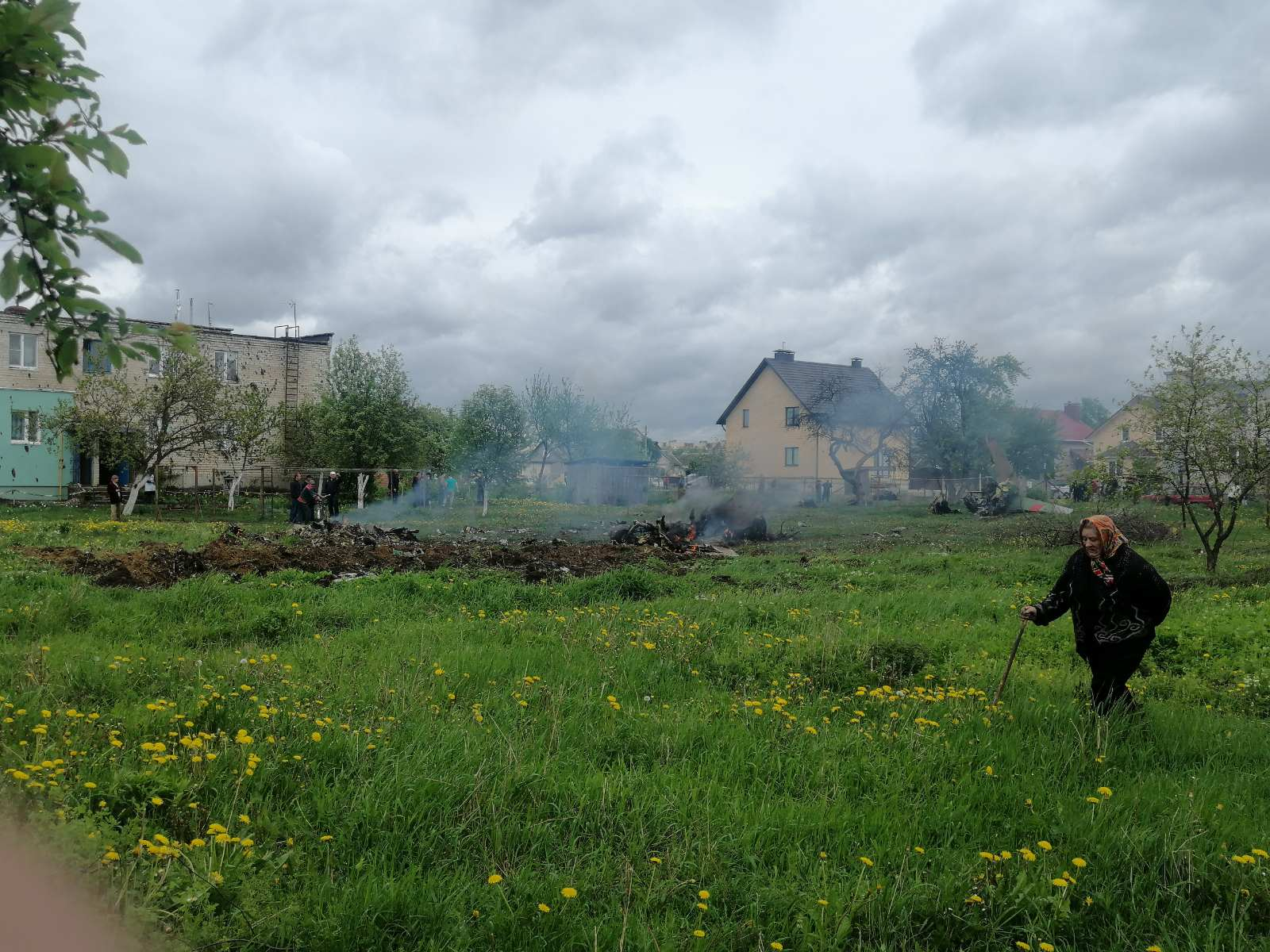 Место падения самолета в Барановичах