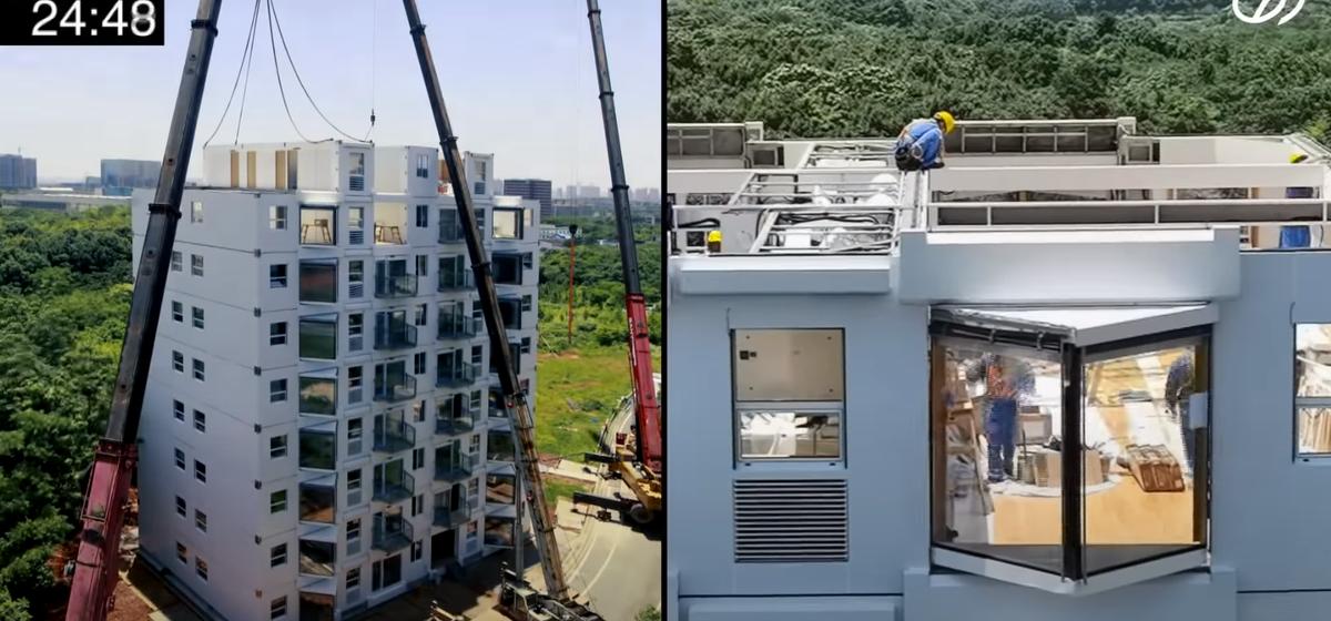 Как китайские строители возвели 10-этажный дом всего за 29 часов. Видео шокирует каждого, кто сомневается